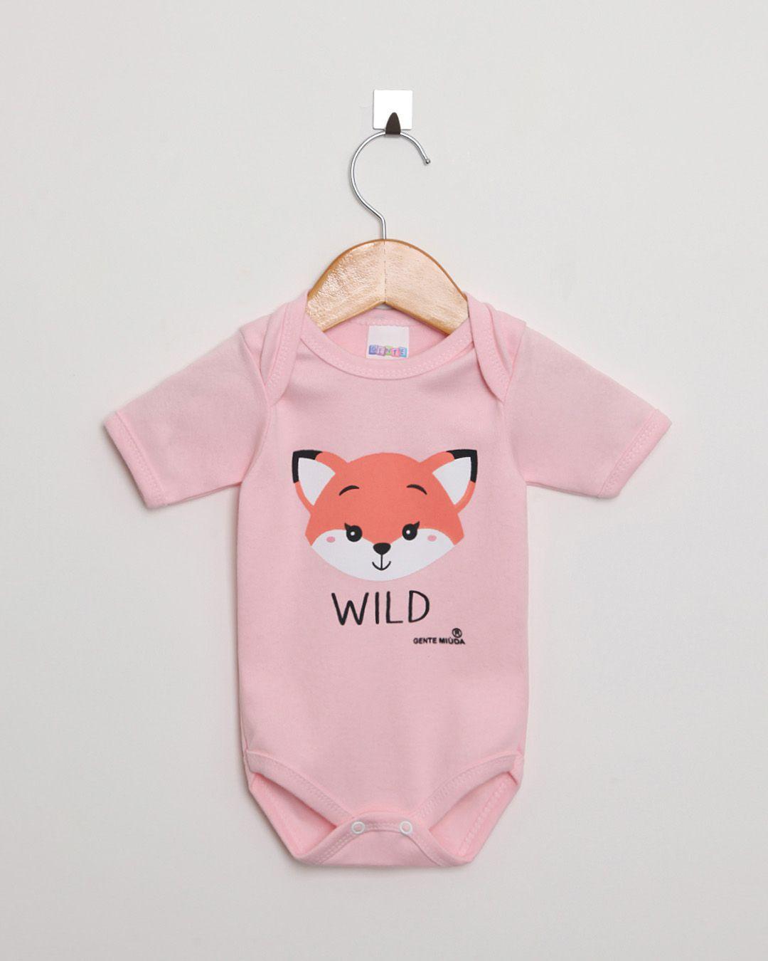 Body Bebê Manga Curta Suedine menina Rosa Claro Raposa