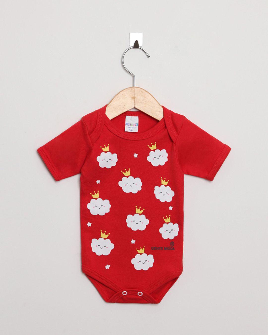 Body Bebê Manga Curta Suedine menina Vermelho Nuvens