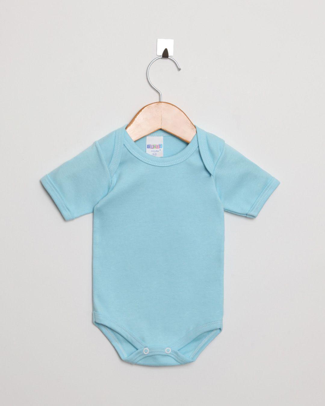 Body Bebê Manga Curta Suedine Menino Azul Bebê Liso