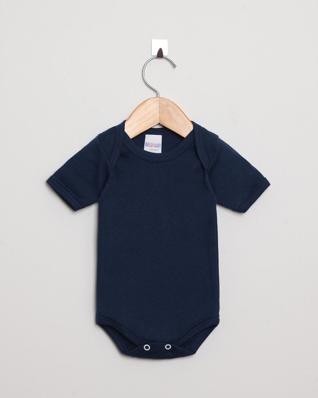 Body Bebê Manga Curta Suedine menino Azul Marinho Liso