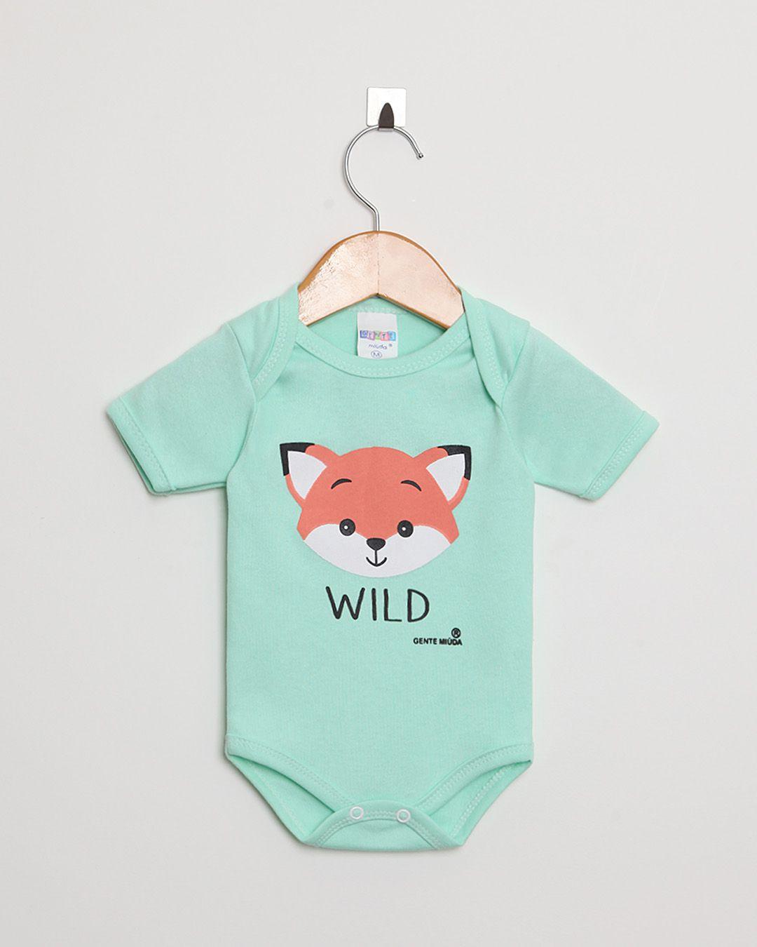 Body Bebê Manga Curta Suedine Menino Verde Claro Raposa