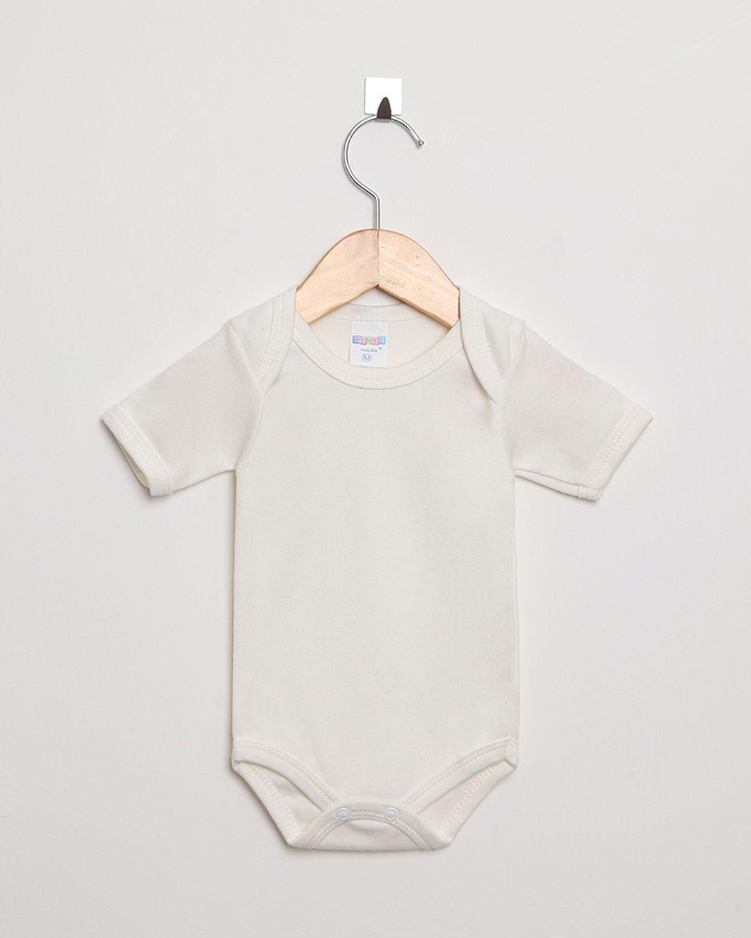 Body Bebê Manga Curta Suedine Off White Liso