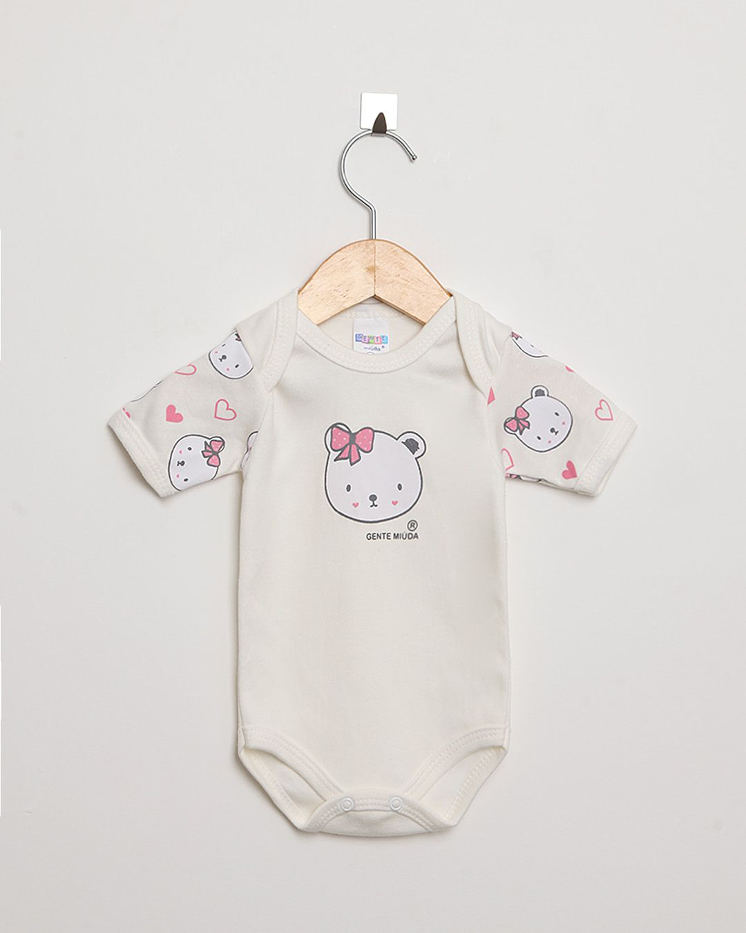 Body Bebê Manga Curta Suedine Off White Ursinha