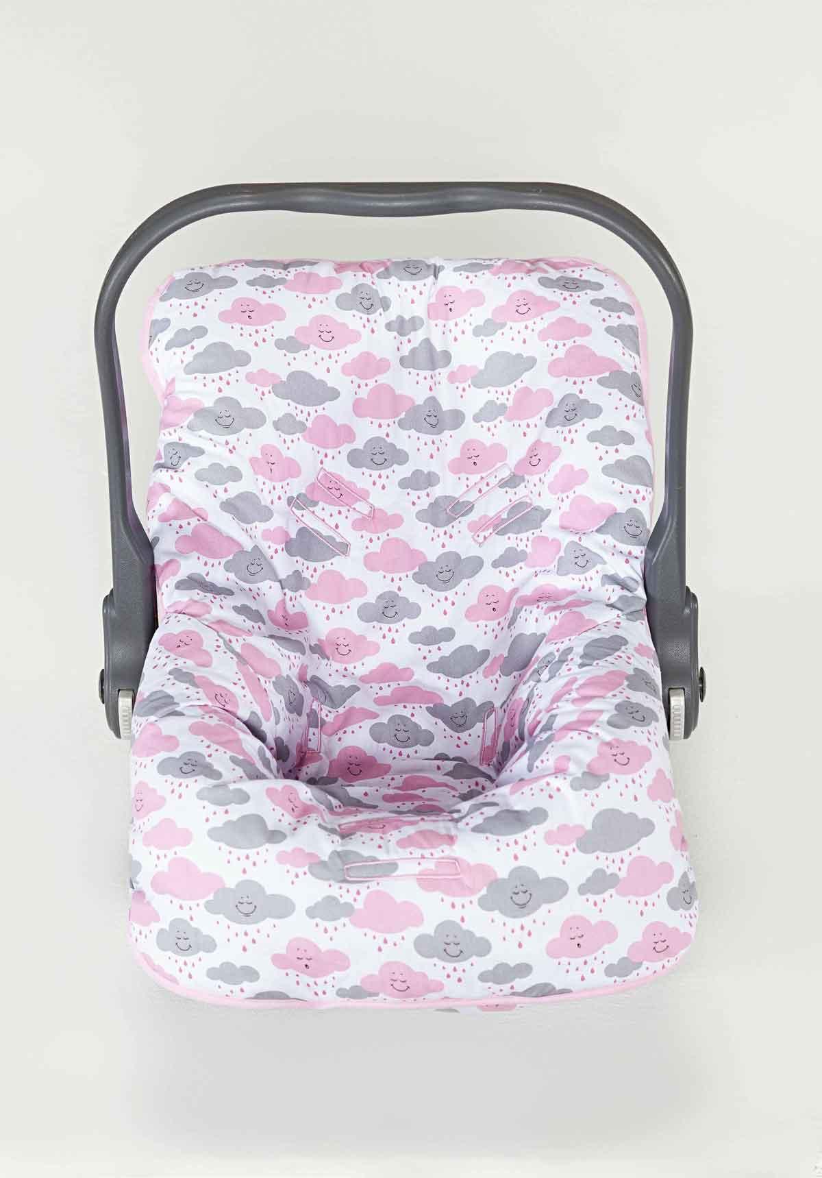 Capa para Bebê Conforto Menina Nuvem Rosa