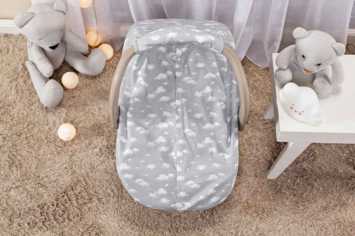 Capota Protetora P/ Bebê Conforto Nuvem Cinza