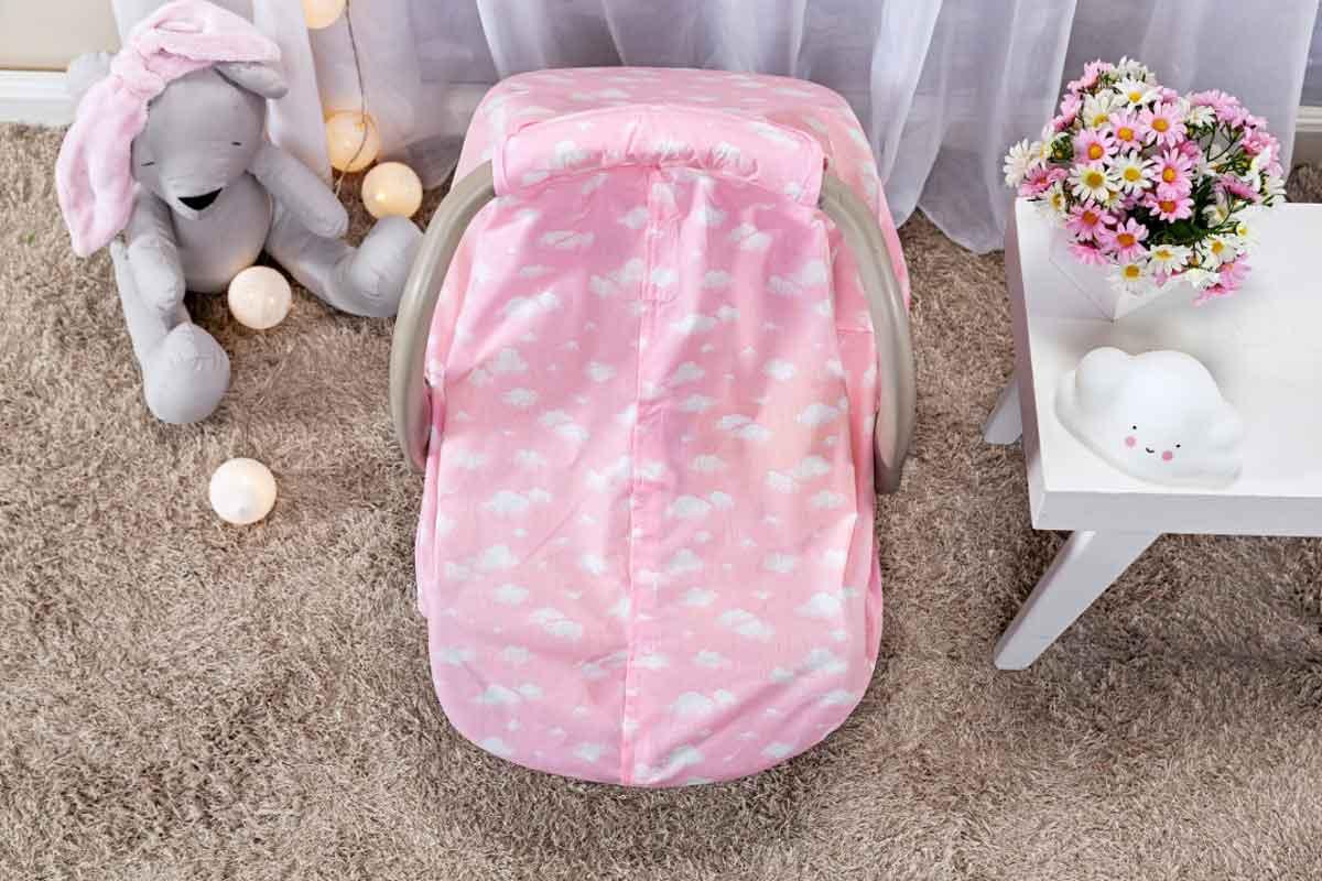 Capota Protetora P/ Bebê Conforto Nuvem Rosa