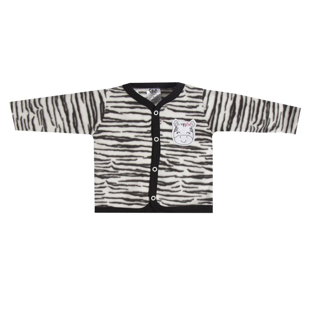Casaco Bebê em Soft Menina C/ Capuz Zebra Preto e Branco