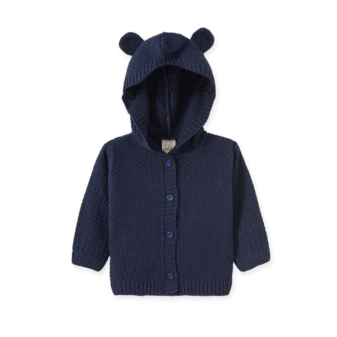 Casaco Bebê em Tricô Menino com Capuz Azul