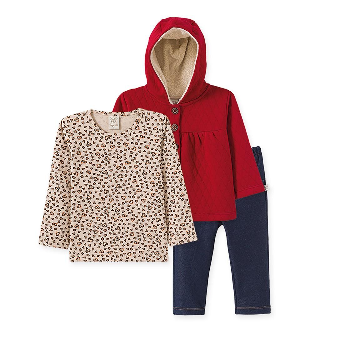 Conjunto 1ºs Passos Menina com 3 Peças Blusa, Casaco e Calça Cotton Jeans
