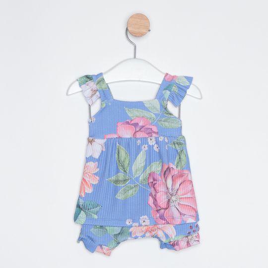 Conjunto Bebê 2 Peças Floral Azul Claro