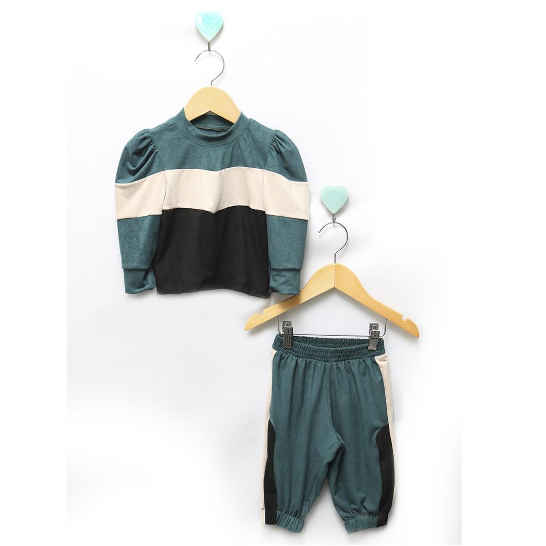 Conjunto Bebê Basic Blusa e Calça Jogger Verde