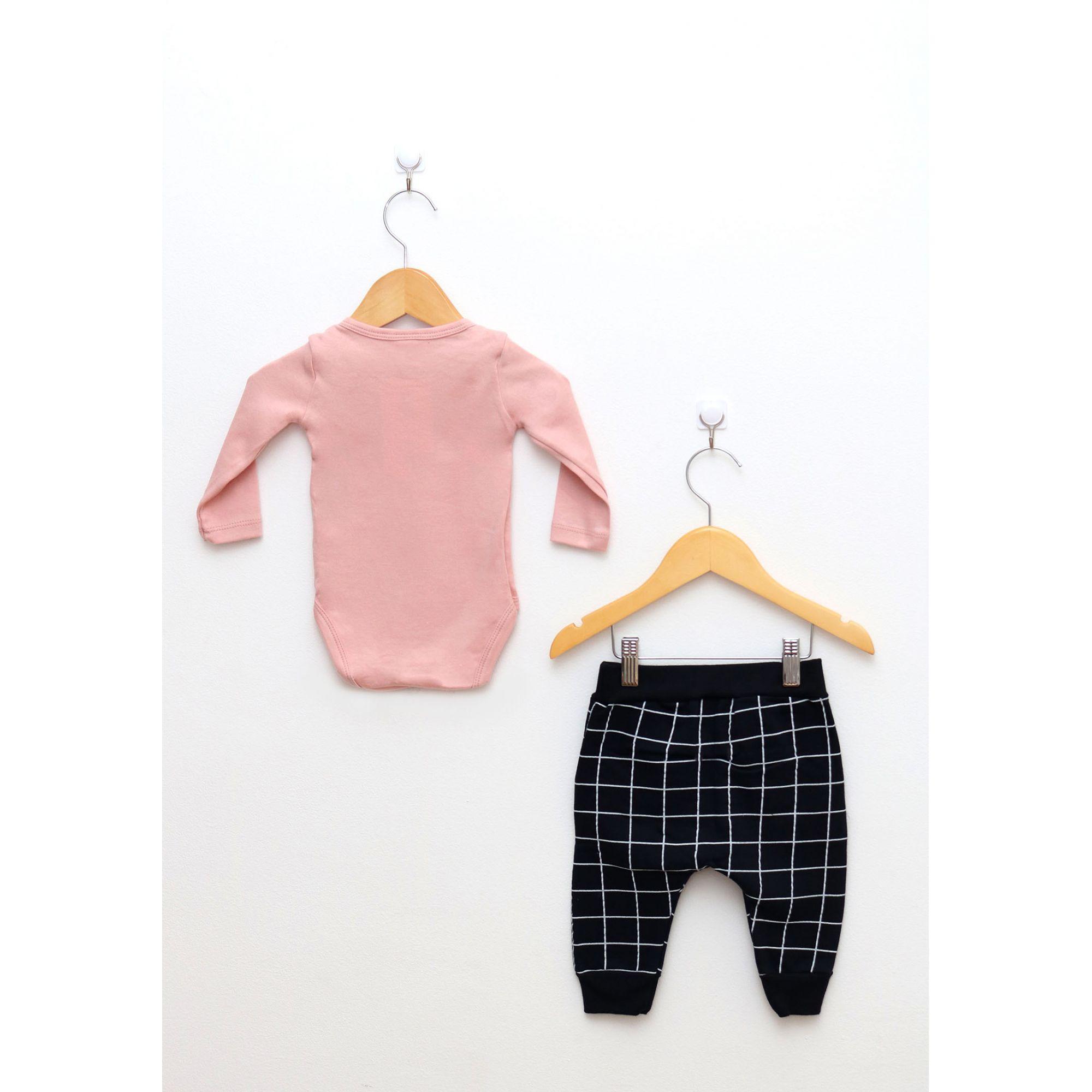 Conjunto Bebê Menina Body Rosa Chá e Saruel Preta