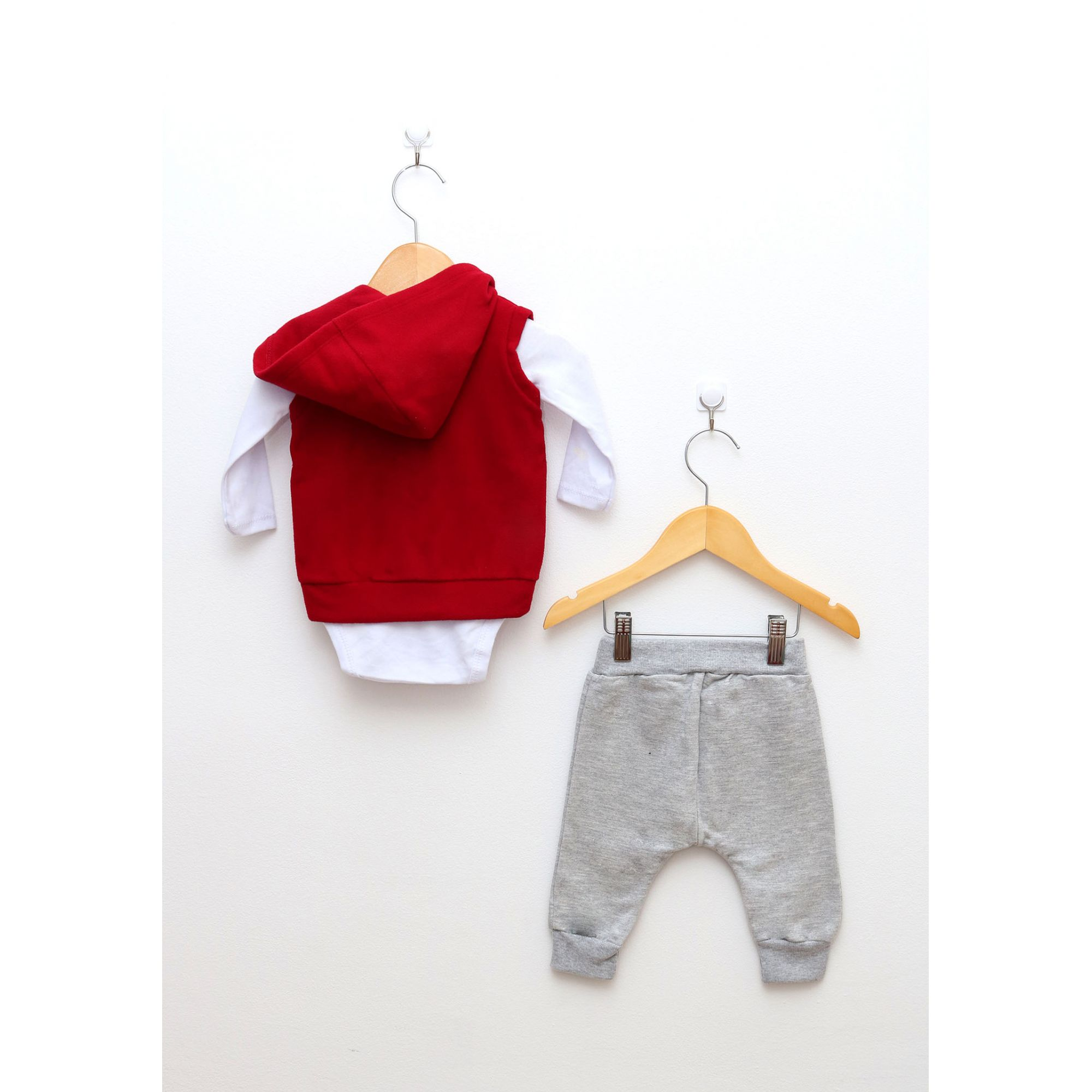 Conjunto Bebê Menina com 3 Peças Vermelho e Mescla