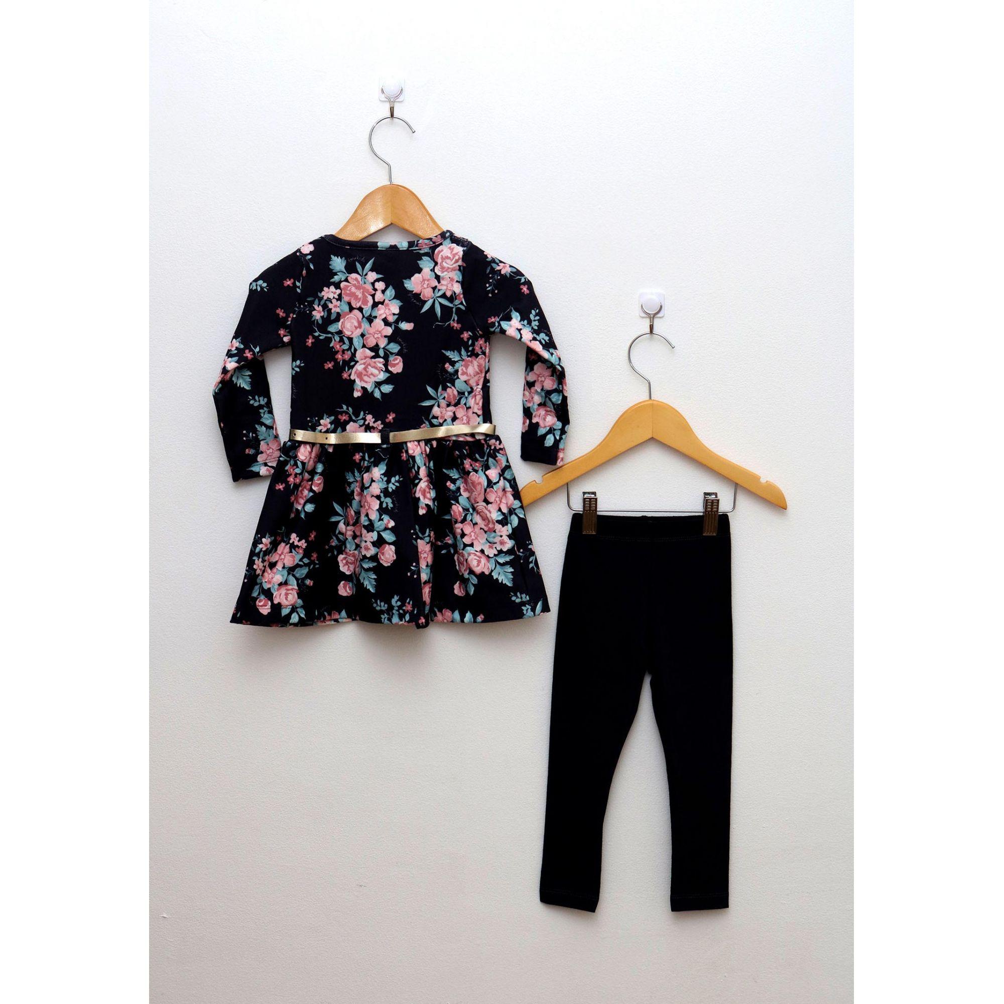 Conjunto Primeiros Passos Menina Vestido Floral e Legging Preta