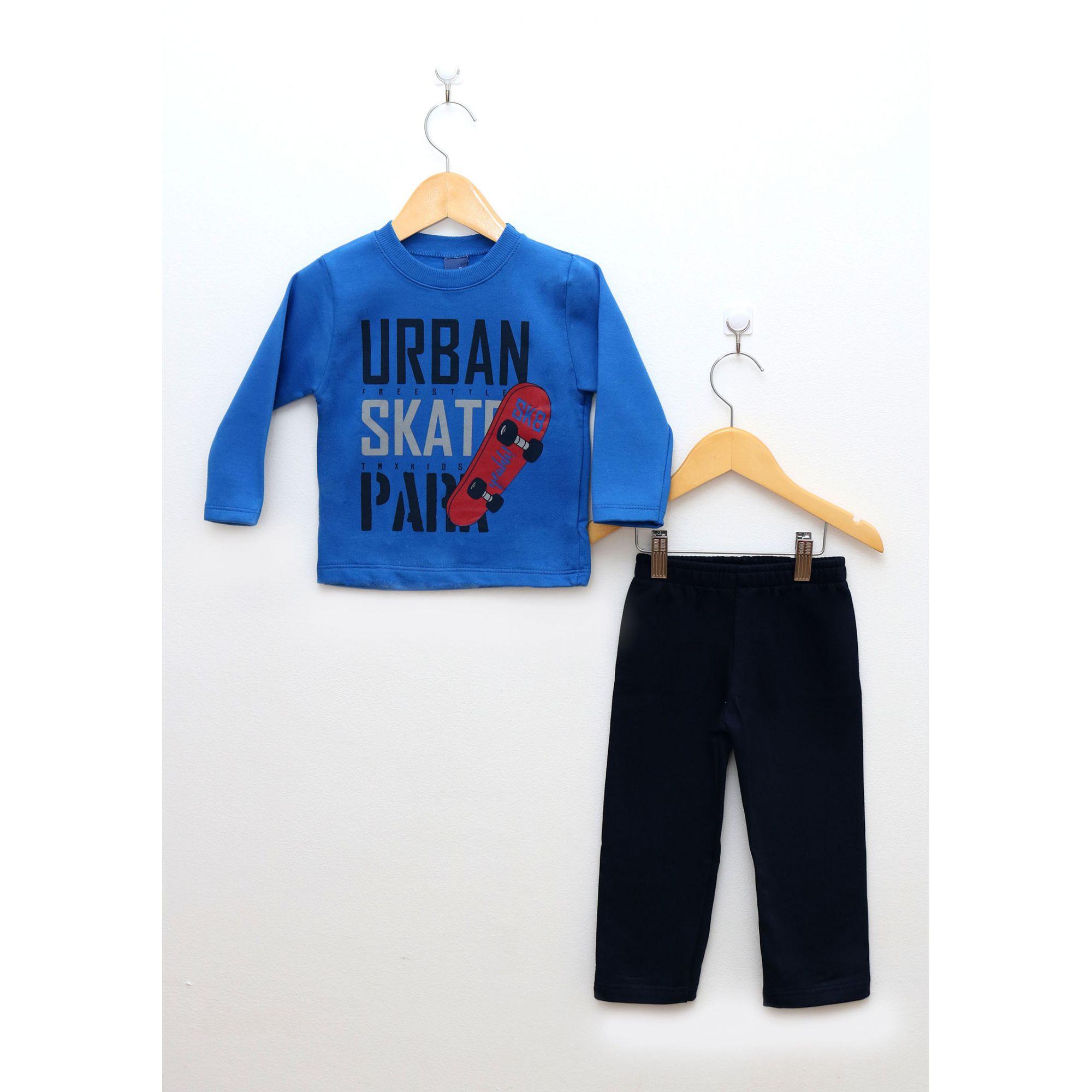 Conjunto Primeiros Passos Menino Blusa Azul Royal e Calça Marinho