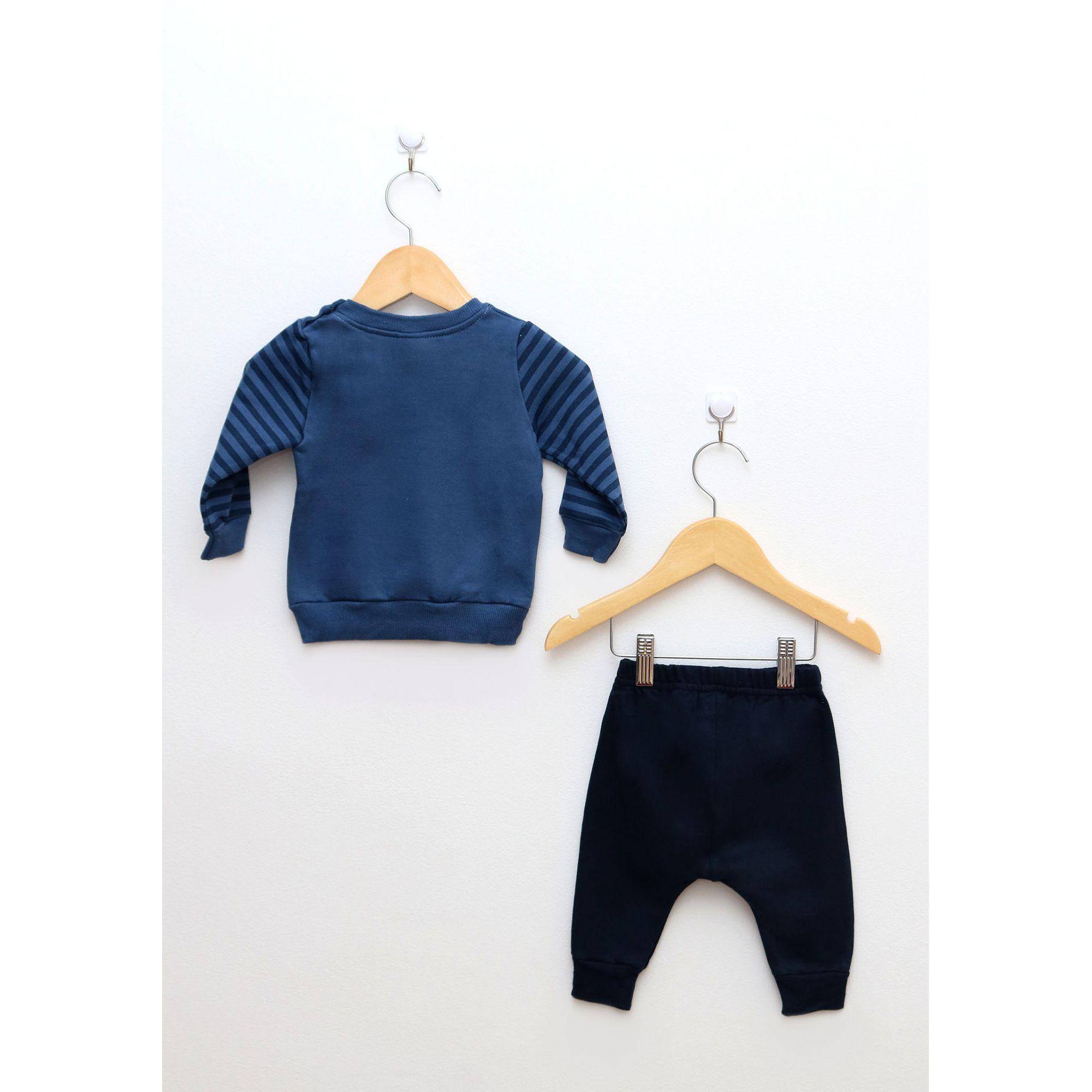 Conjunto Bebê Menino Blusa e Calça em Moletom Azul