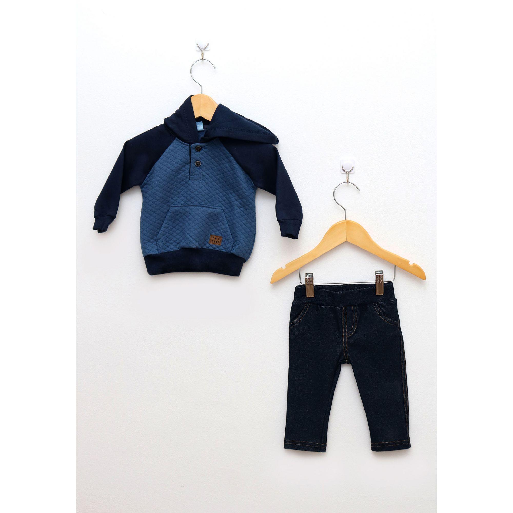 Conjunto Bebê Menino Blusa e Calça em Moletom Jeans
