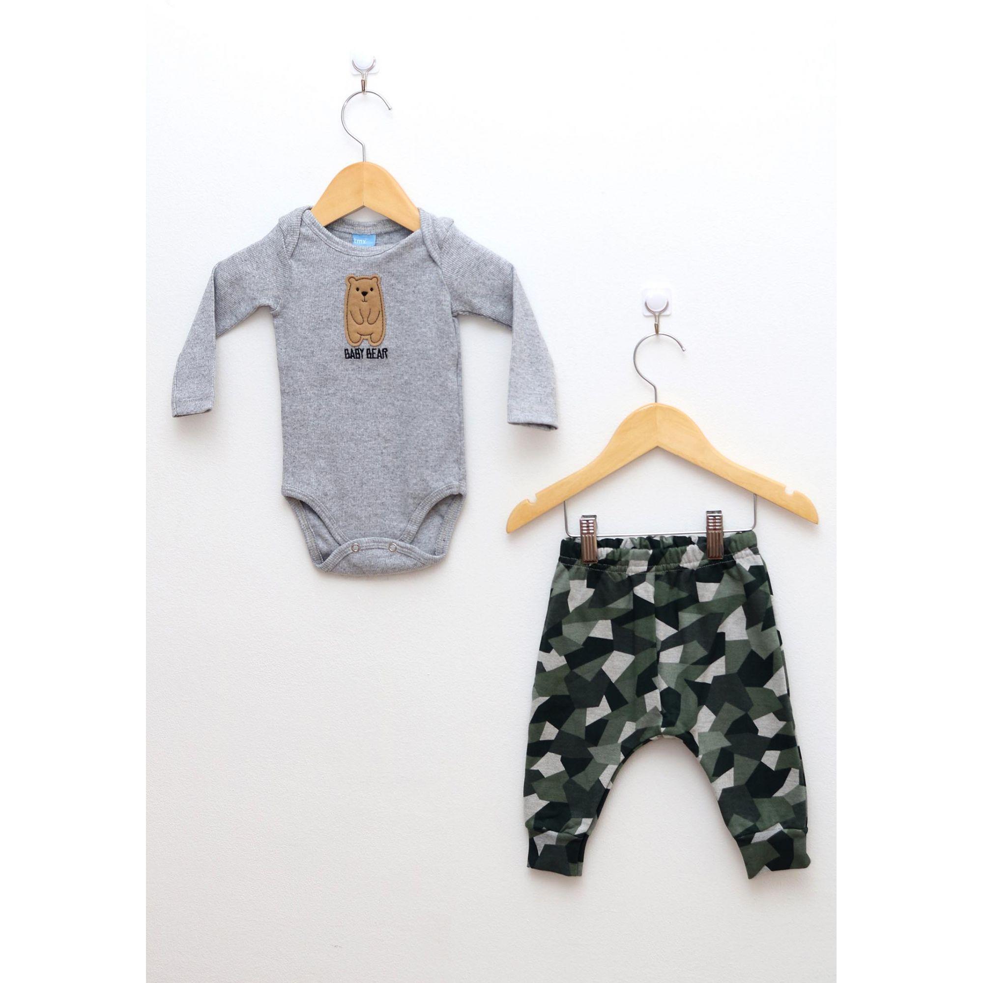 Conjunto Bebê Menino Body e Calça Saruel Camuflada