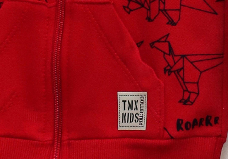Conjunto Primeiros Passos Menino Jaqueta e Calça Vermelho e Preto