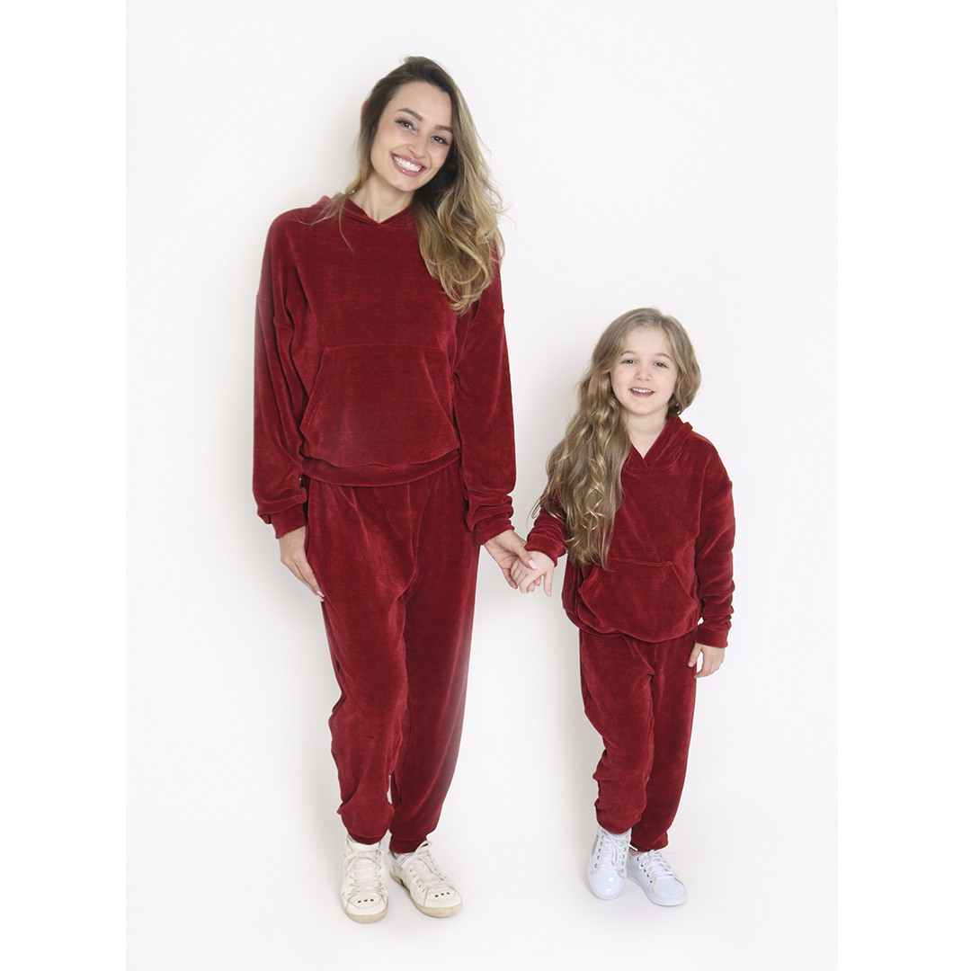 Conjunto Comfy Infantil C/ Capuz Vermelho
