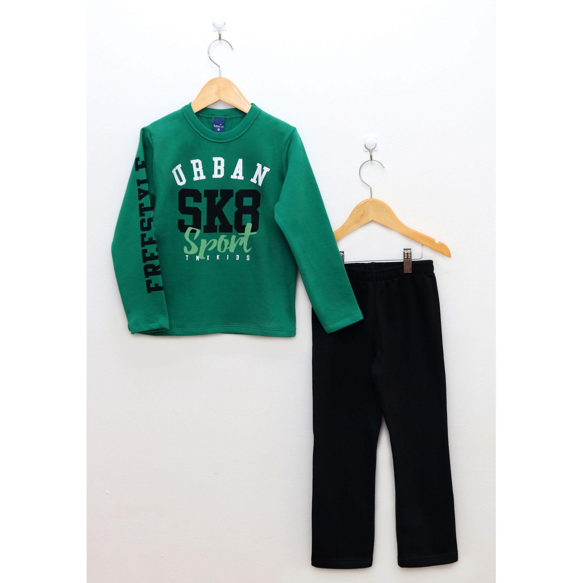 Conjunto Infantil Menino Blusa Verde e Calça Preta SK8