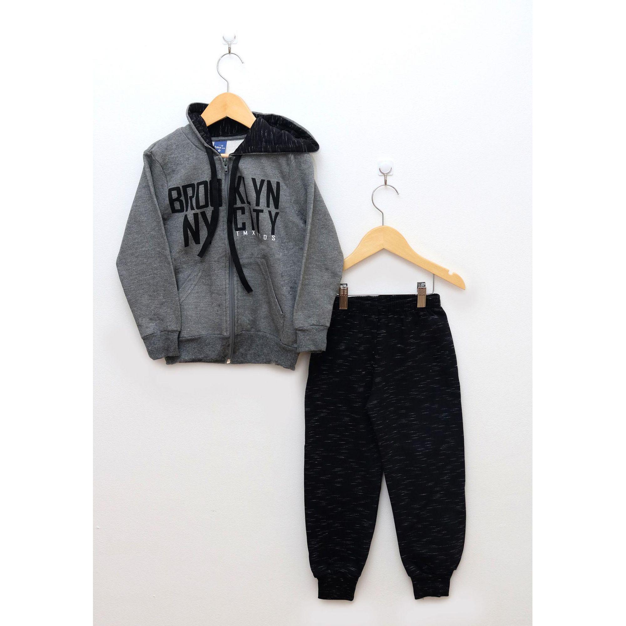 Conjunto Infantil Menino Jaqueta e Calça Cinza Brooklyn