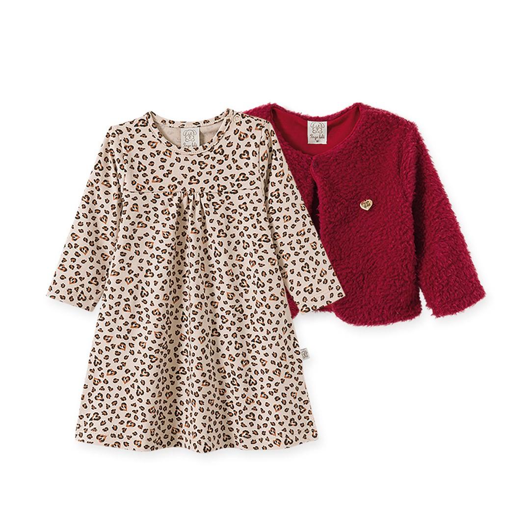 Conjunto Vestido Bebê Menina Oncinha e Casaqueto em Pelúcia Vermelha