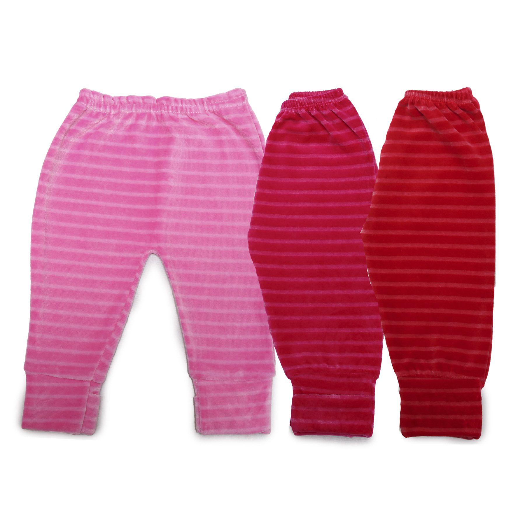 Kit Bebê com 3 Calças(Mijão) em Plush Menina Rosa, Pink e Vermelho