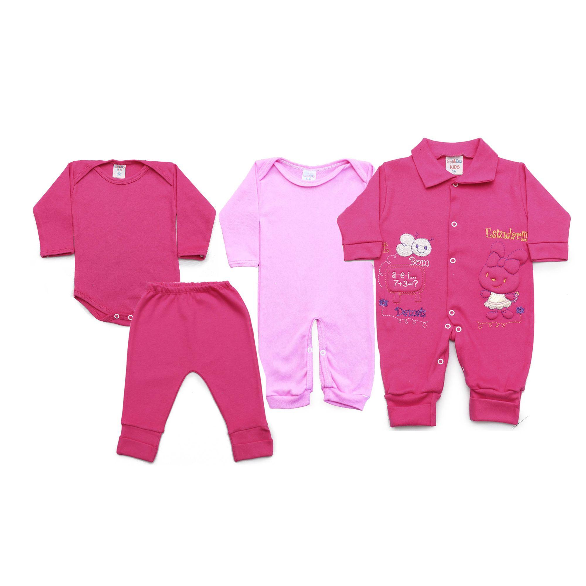 Kit Bebê com 4 Peças Menina Rosa