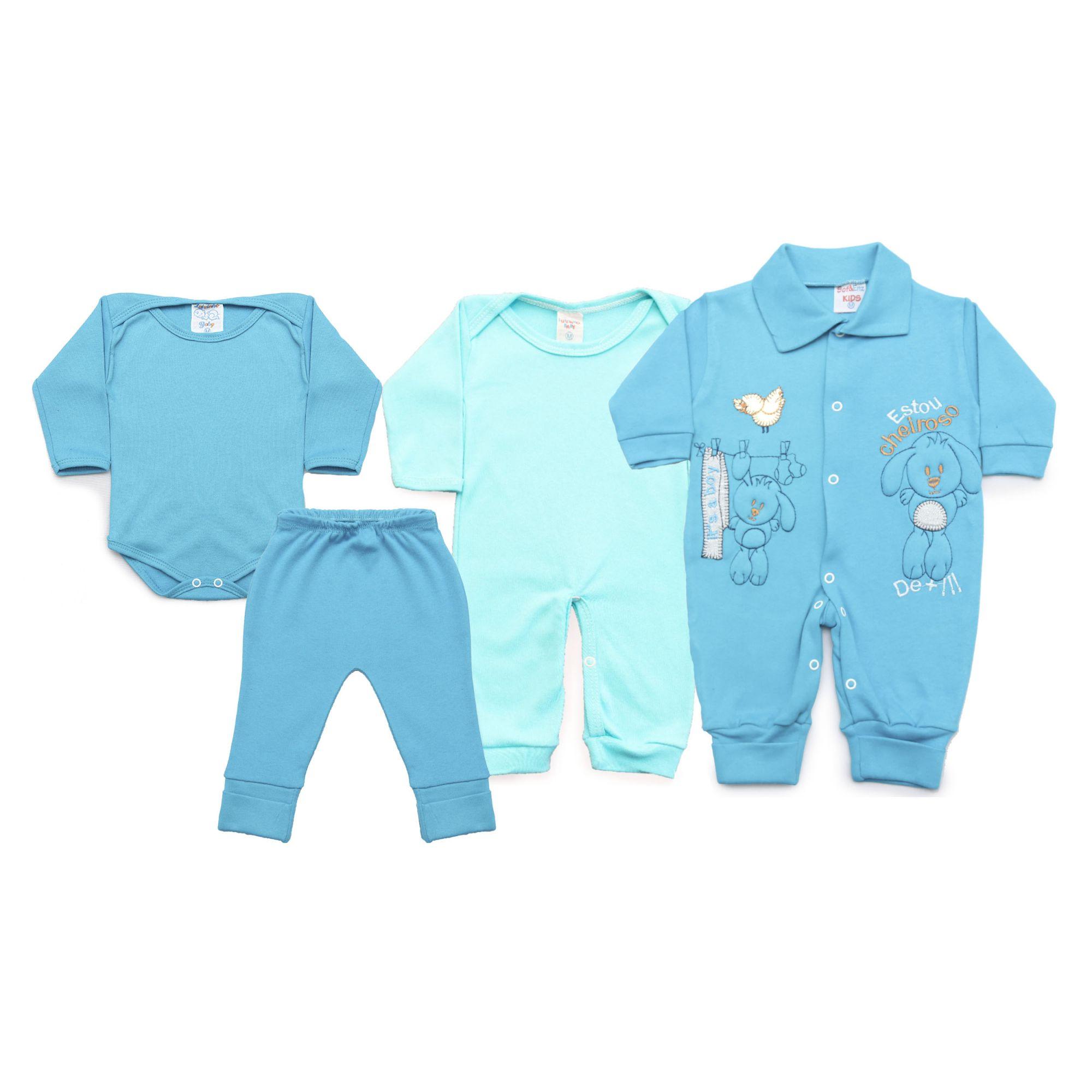 Kit Bebê com 4 Peças Menino Azul