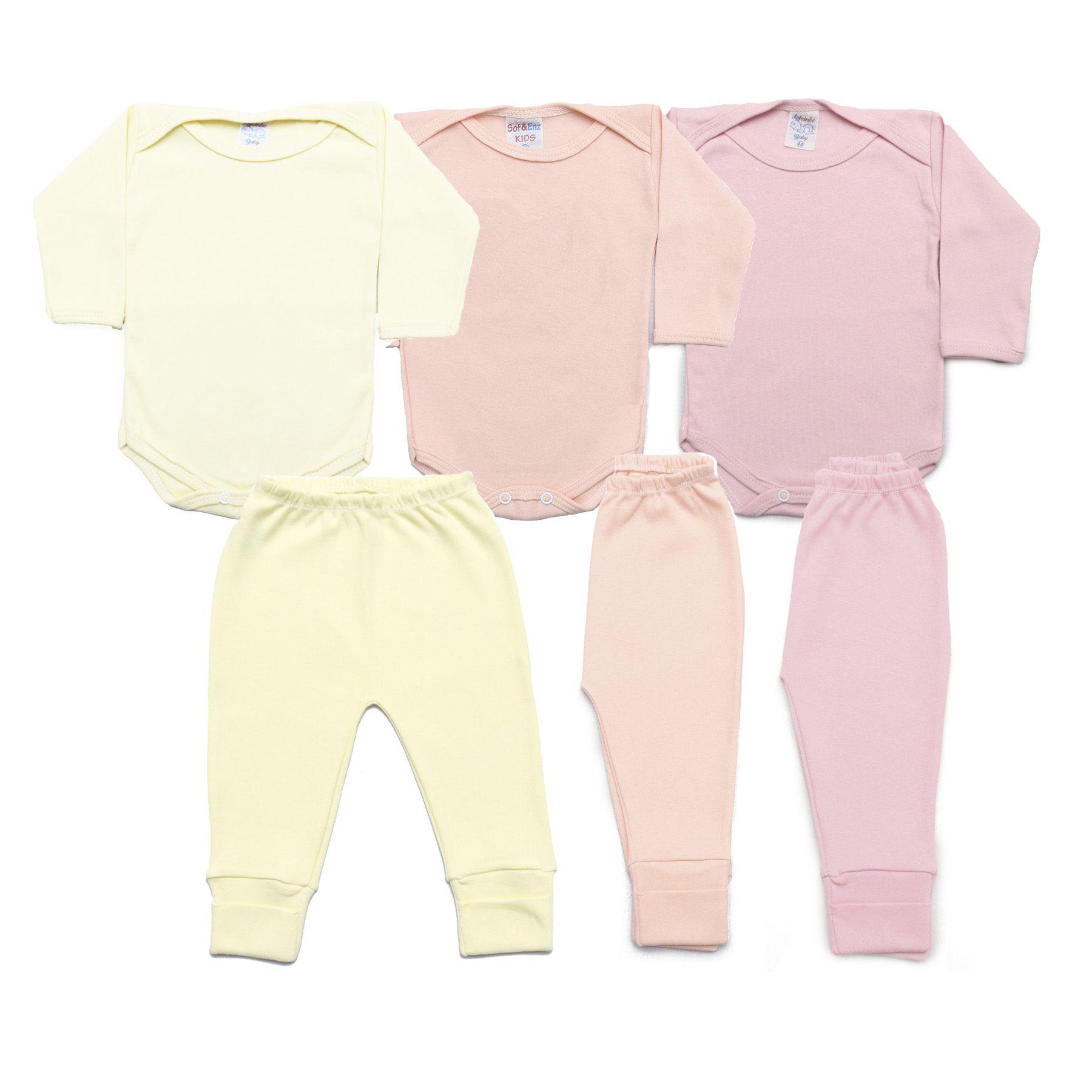 Kit Bebê com 6 Peças Menina Rosa, Rosê e Amarelo Claro