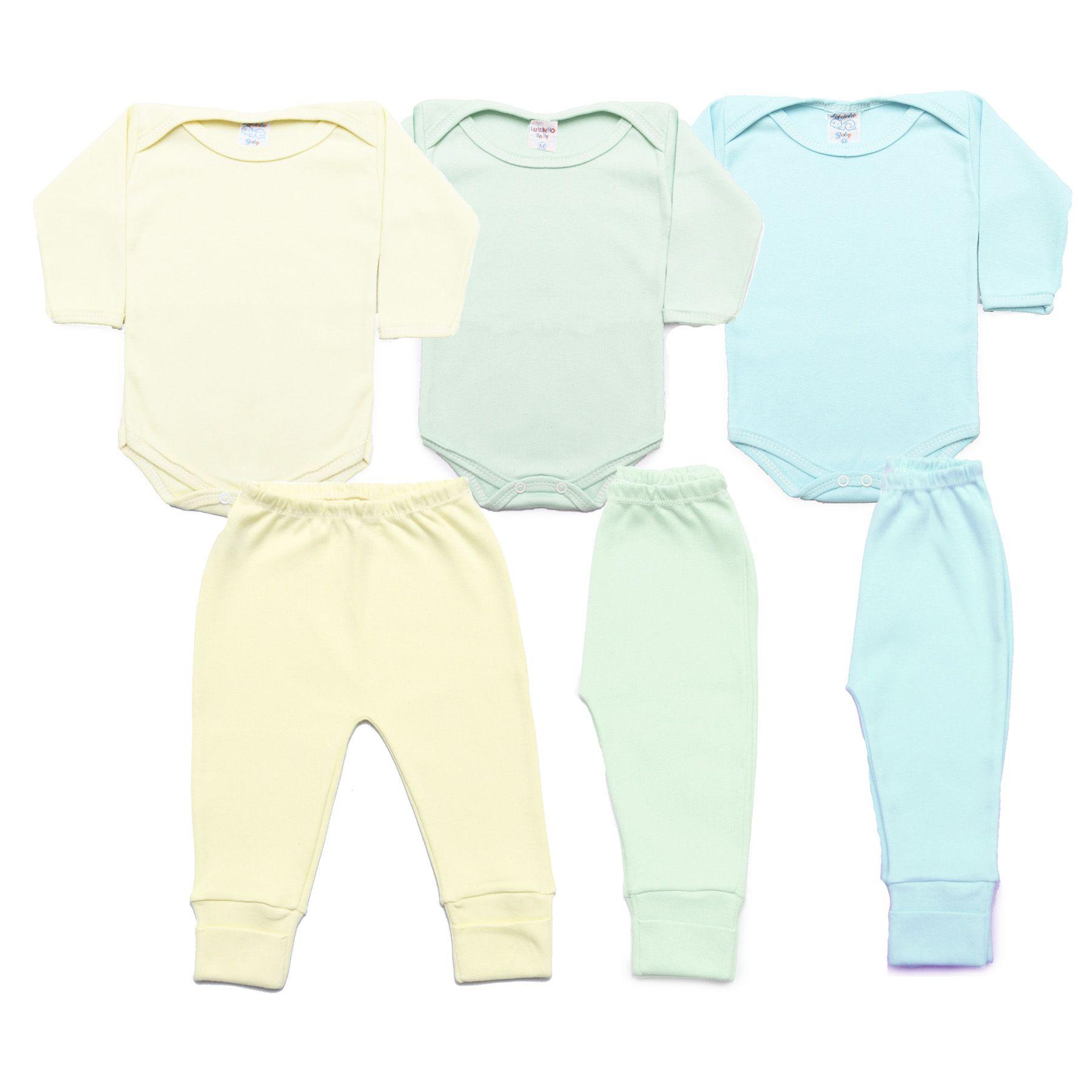 Kit Bebê com 6 Peças Menino Azul Claro, Verde Água e Amarelo Claro