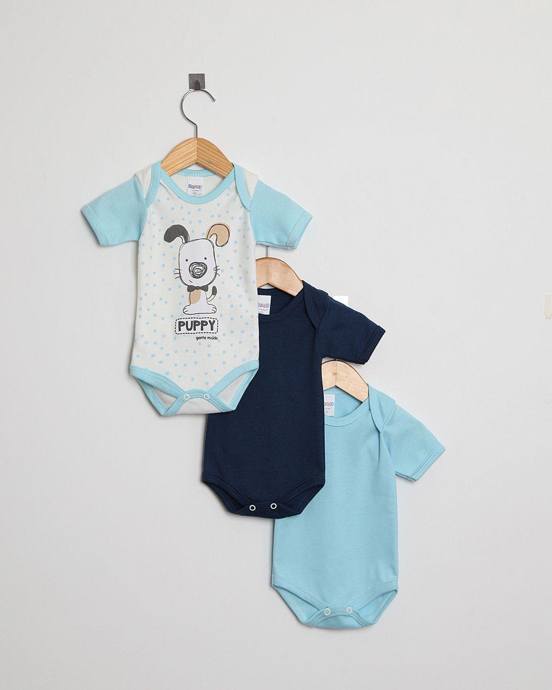 Kit Body Bebê 3 peças Marinho, Azul Claro e Off White Cachorro