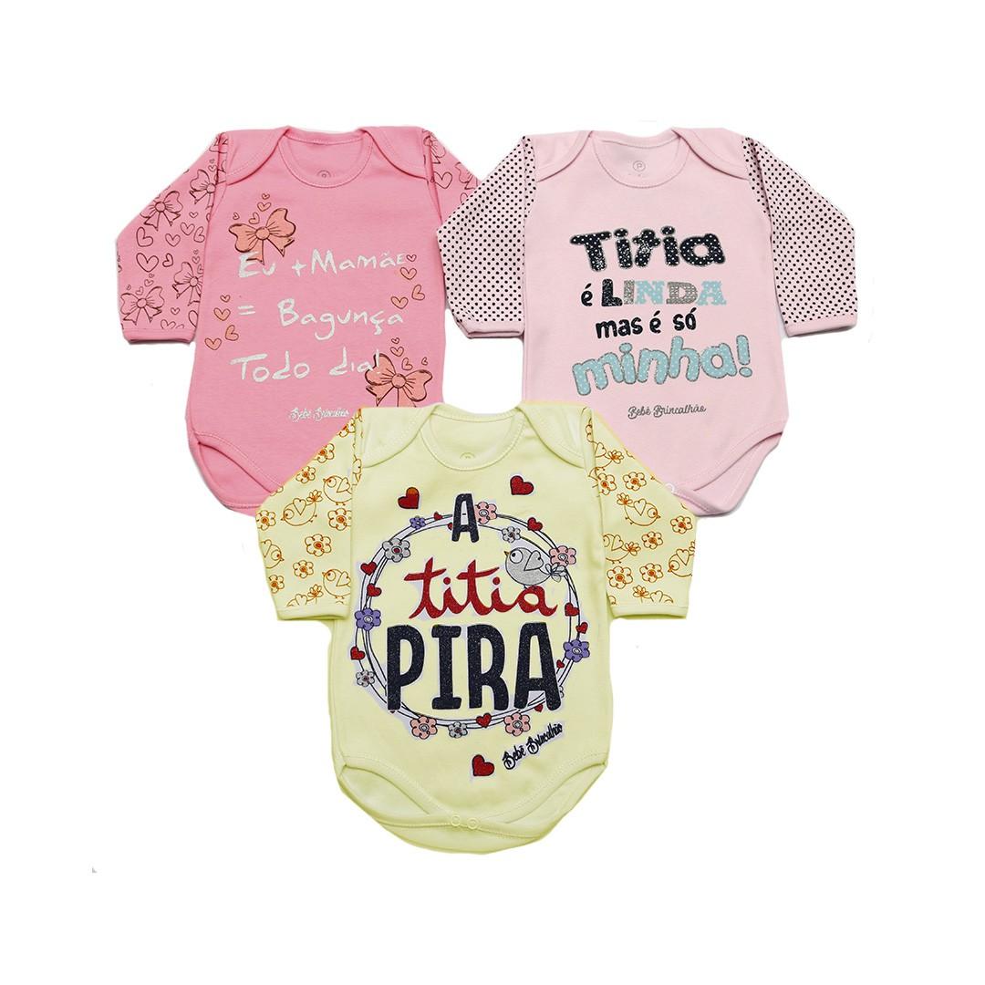 Kit Body Bebê 3 Peças Menina Branco e Rosa Titia - Frases e estampas sortidas