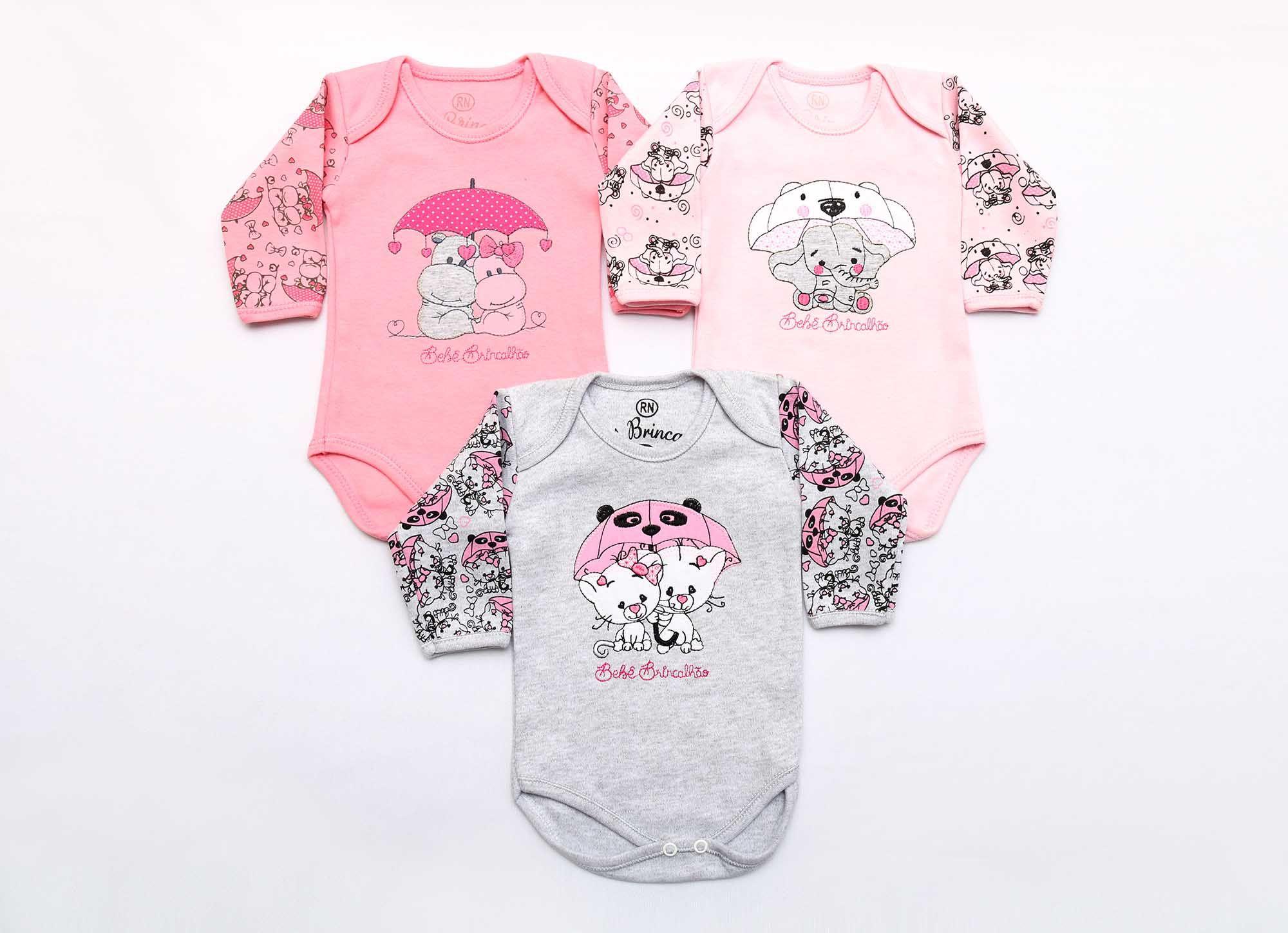 Kit Body Bebê 3 Peças Menina Guarda-chuva Bordado