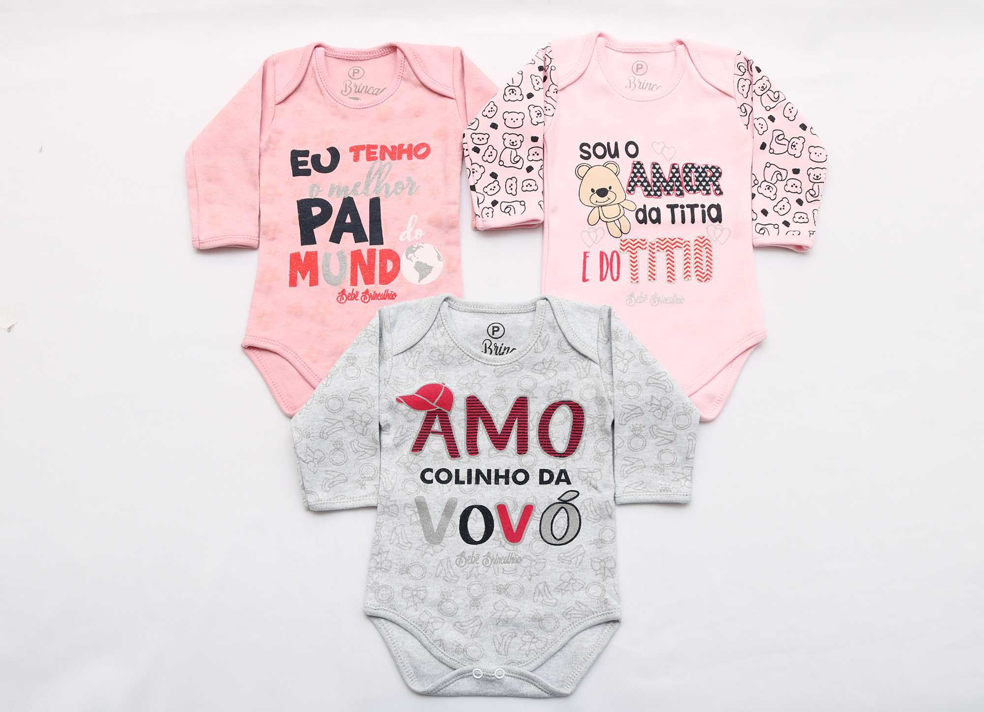 Kit Body Bebê 3 Peças Menina Mescla e Rosa Colinho