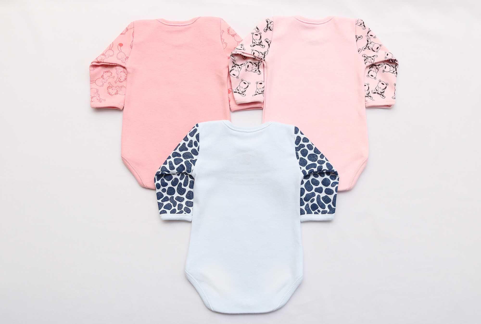 Kit Body Bebê 3 Peças Menina Mescla e Rosa Família