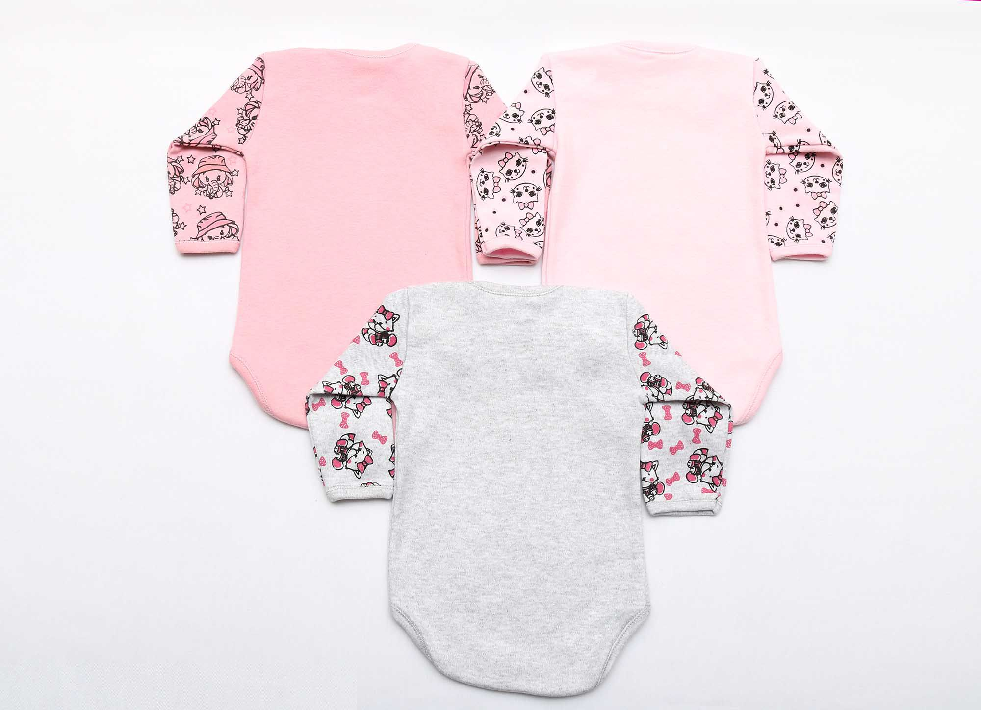 Kit Body Bebê 3 Peças Menina Mescla e Rosê Animais