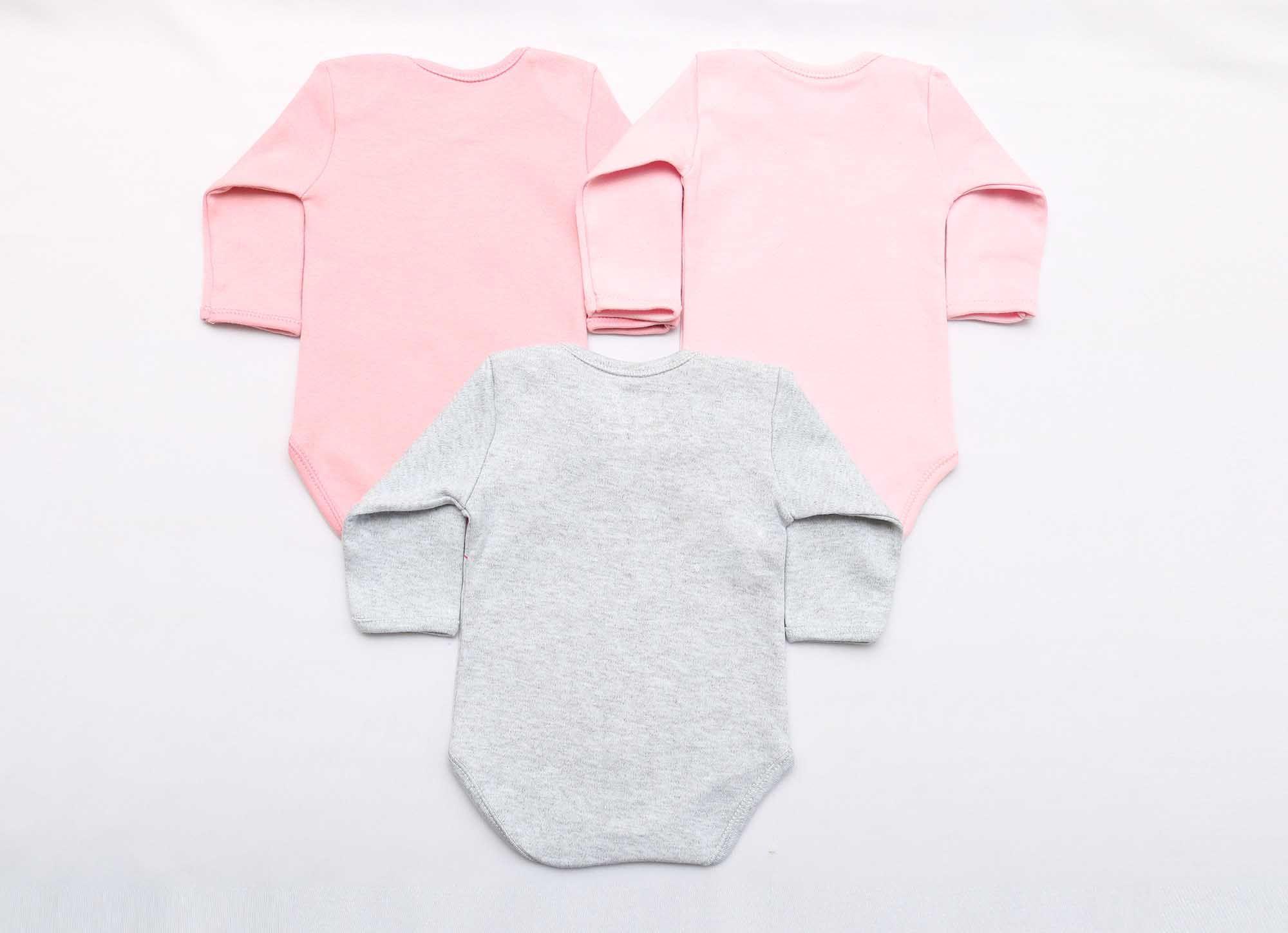 Kit Body Bebê 3 Peças Menina Mescla, Rosa e Rosê Coelha