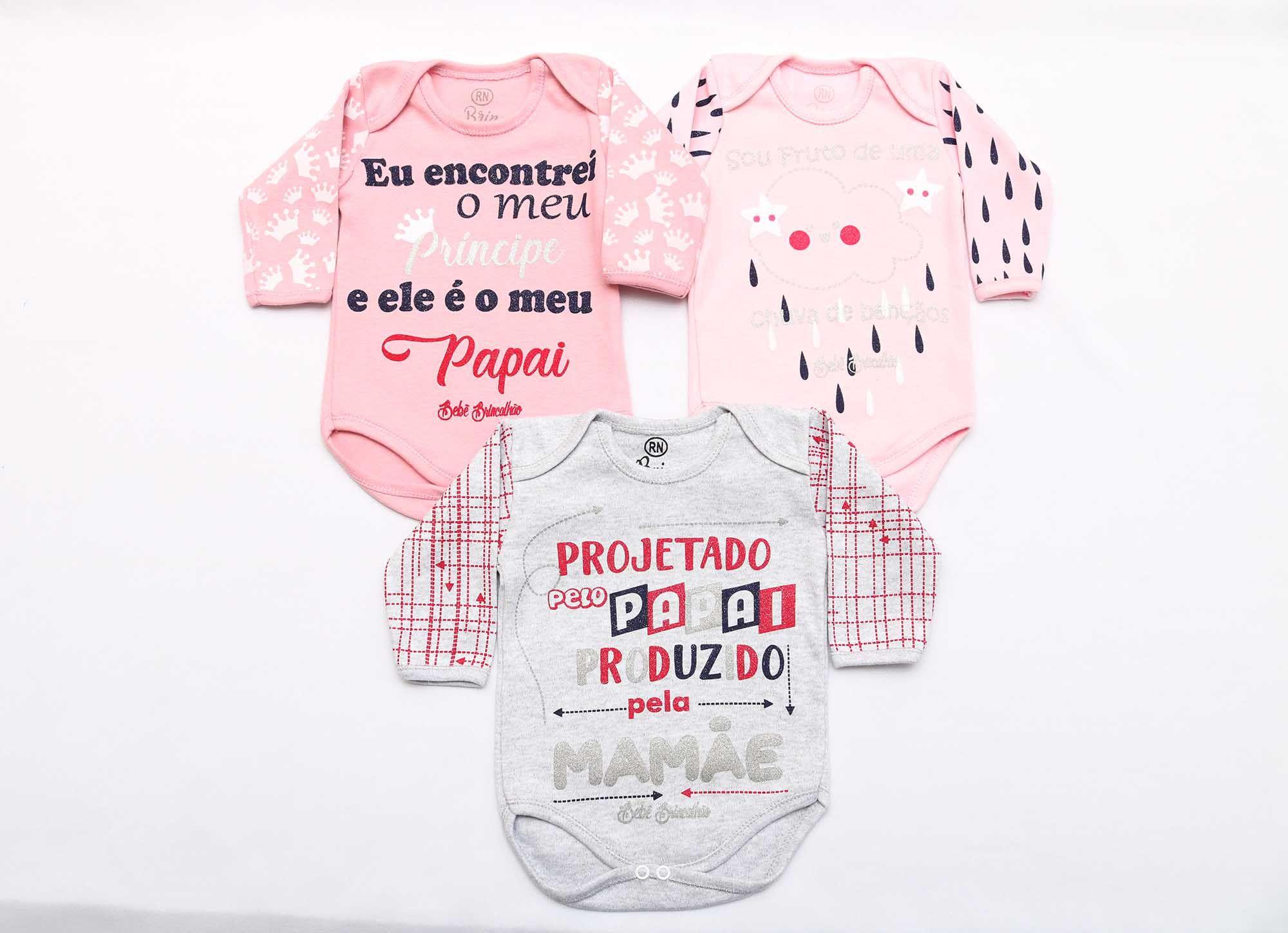 Kit Body Bebê 3 Peças Menina Mescla, Rosa e Rosê Projeto