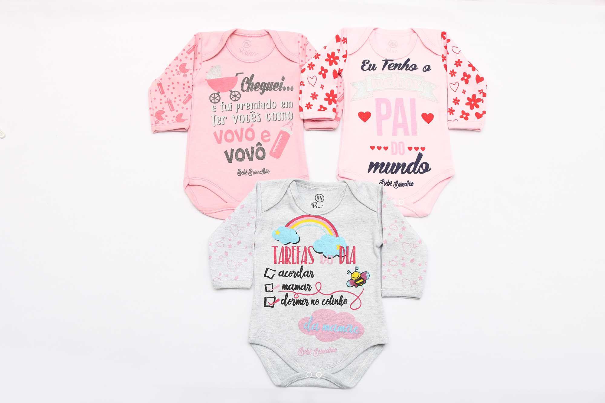 Kit Body Bebê 3 Peças Menina Mescla, Rosa e Rosê Tarefas
