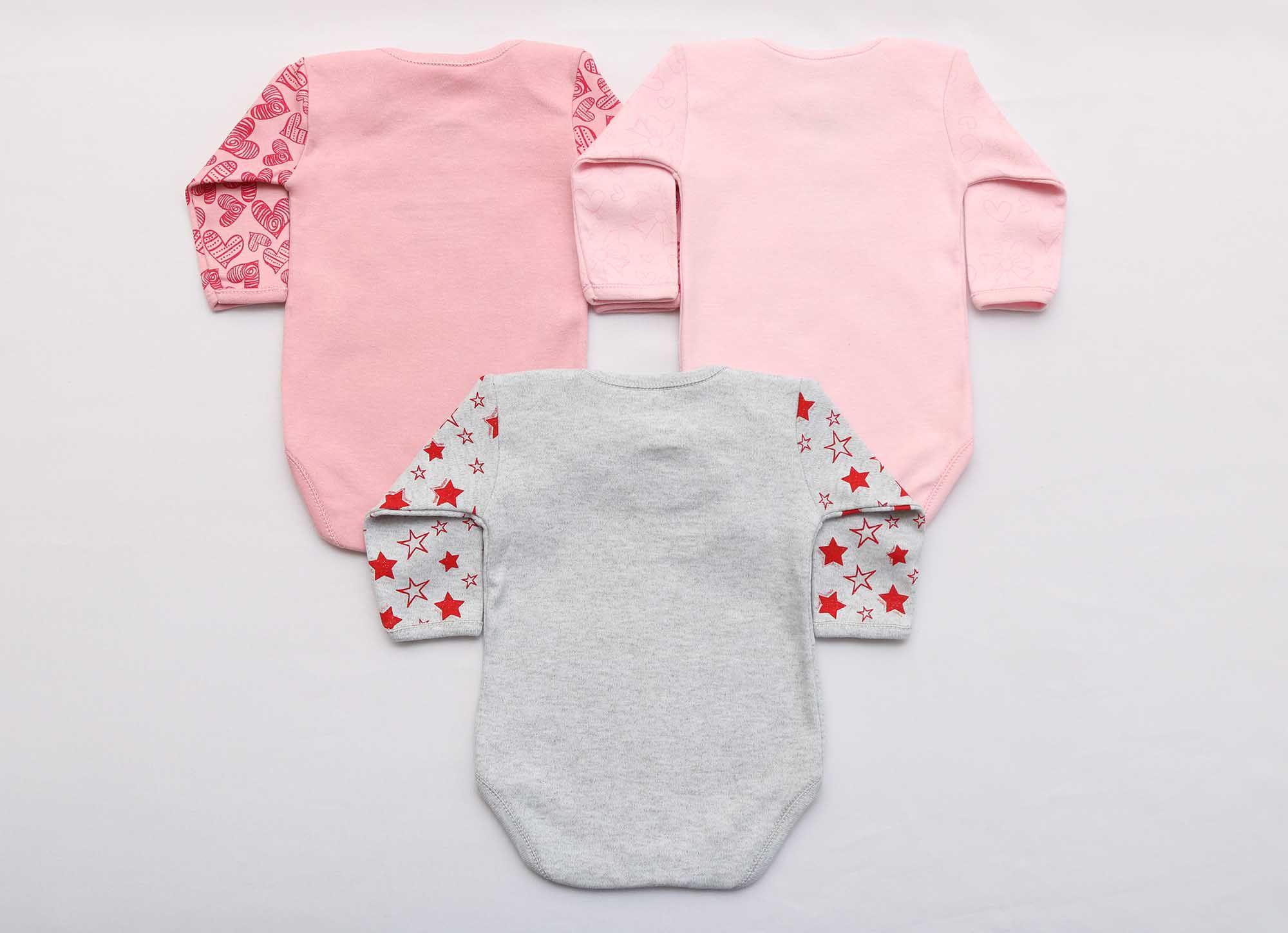 Kit Body Bebê 3 Peças Menina Mescla, Rosa e Rosê Titios