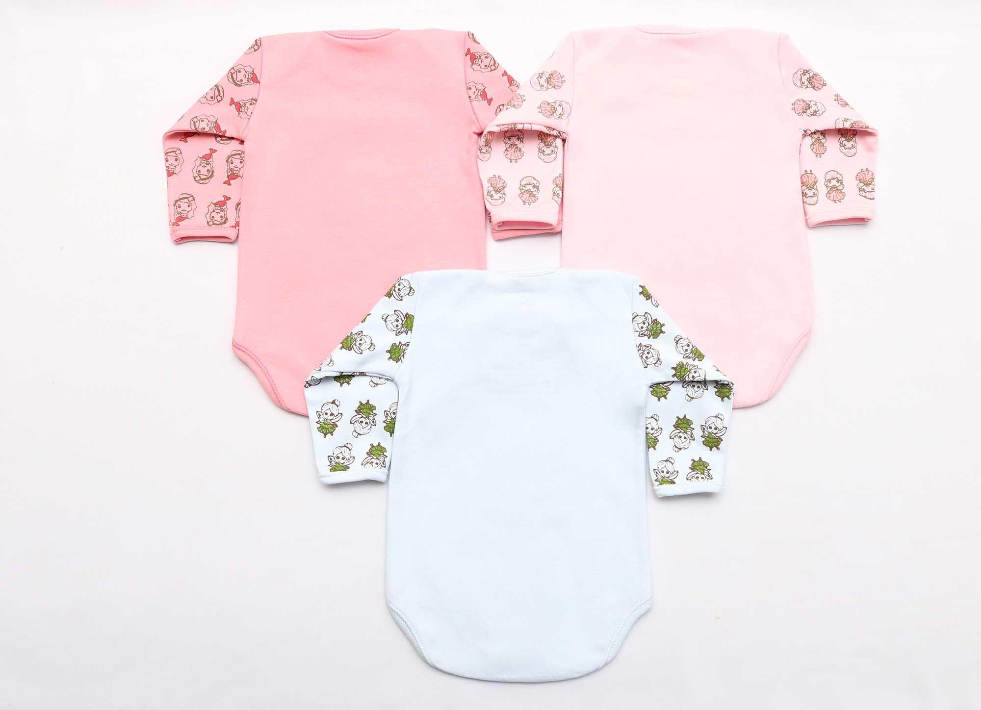 Kit Body Bebê 3 Peças Menina Rosa Bordado Conto de Fadas