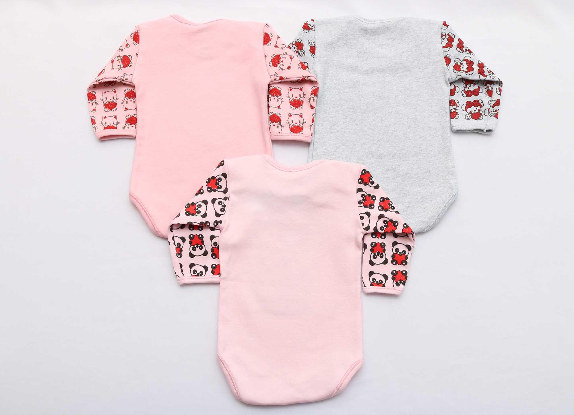 Kit Body Bebê 3 Peças Menina Rosa Bordado e Brilho