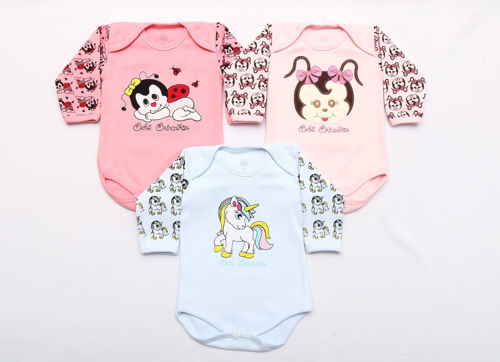 Kit Body Bebê 3 Peças Menina Rosa Bordado Joaninha