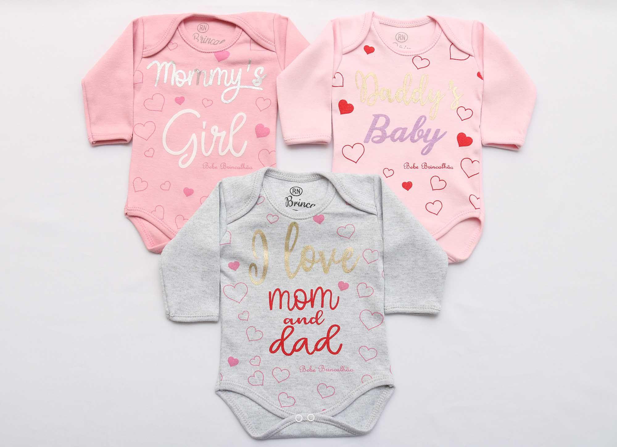 Kit Body Bebê 3 Peças Menina Rosa e Mescla Baby