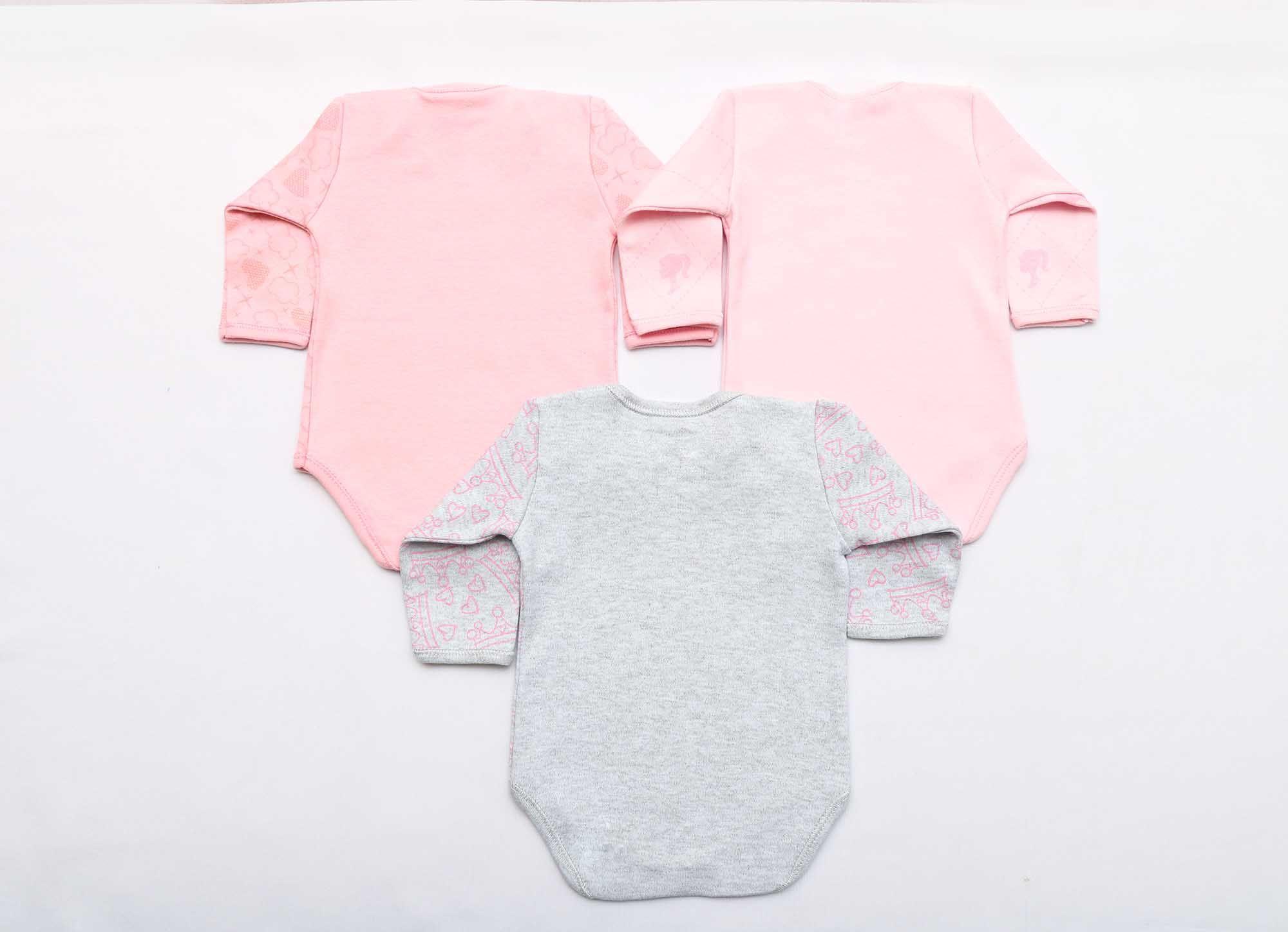 Kit Body Bebê 3 Peças Menina Rosa e Mescla Boneca