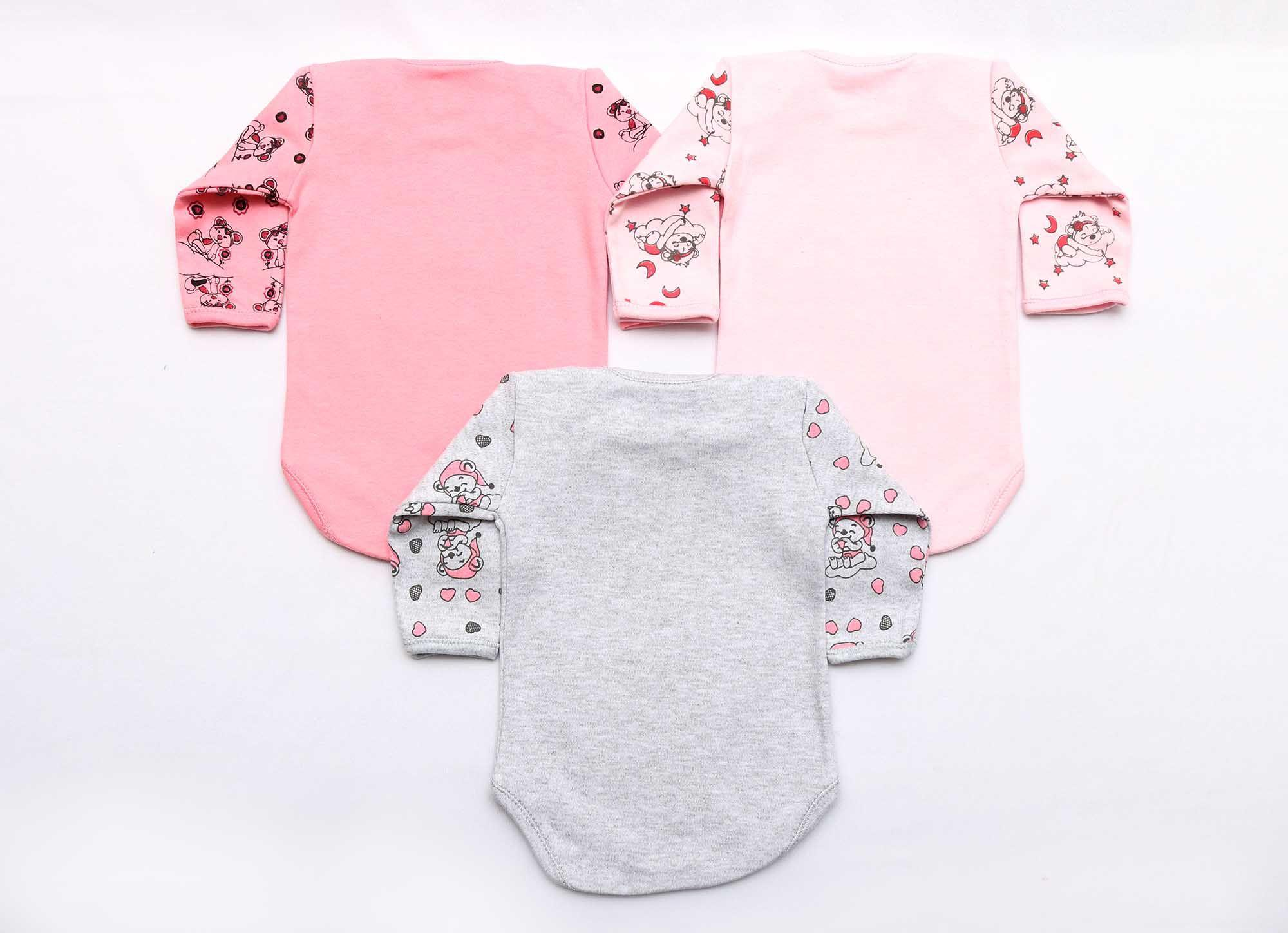 Kit Body Bebê 3 Peças Menina Rosa e Mescla Soneca