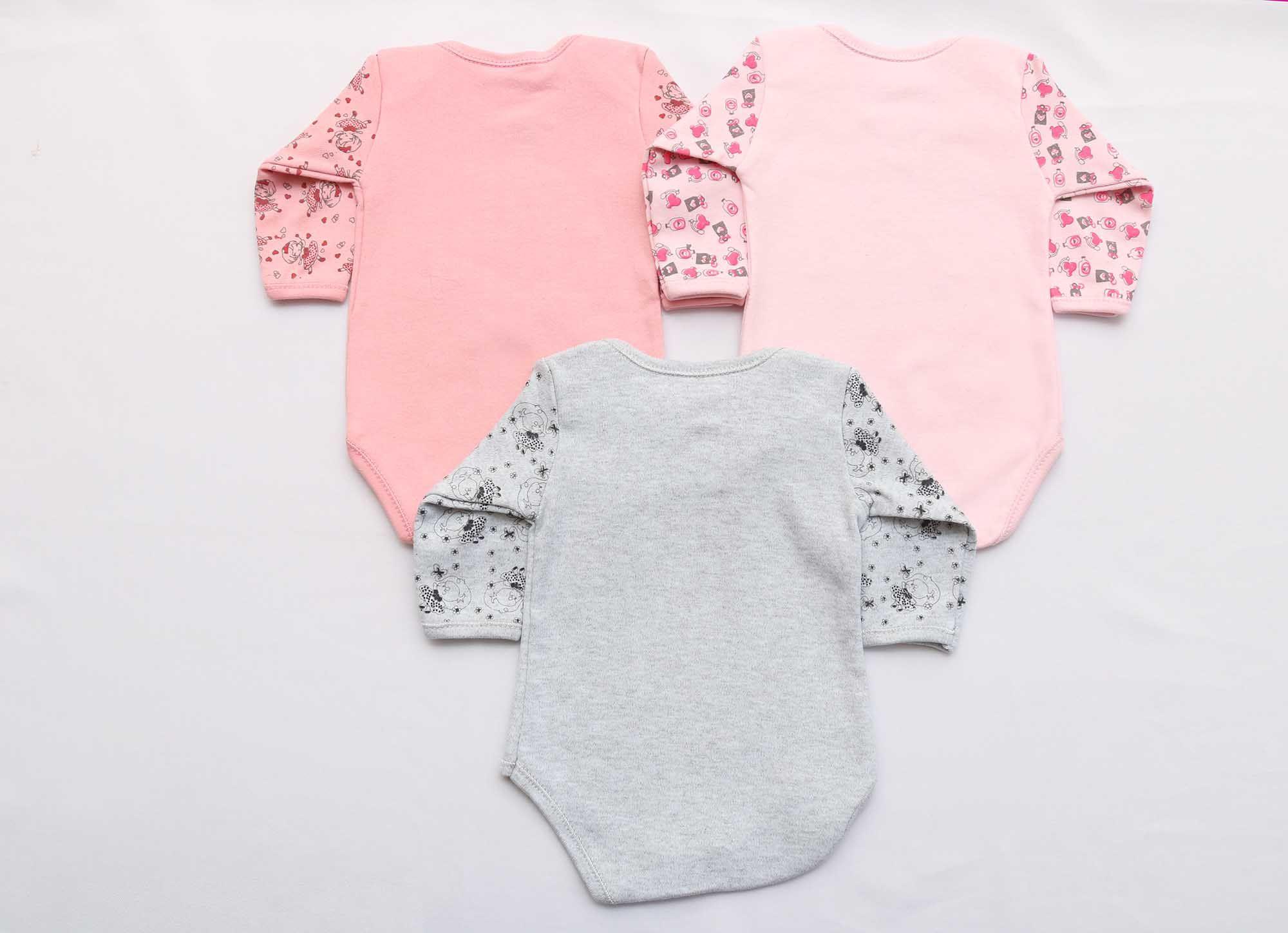 Kit Body Bebê 3 Peças Menina Rosa, Rosê e Mescla Fada