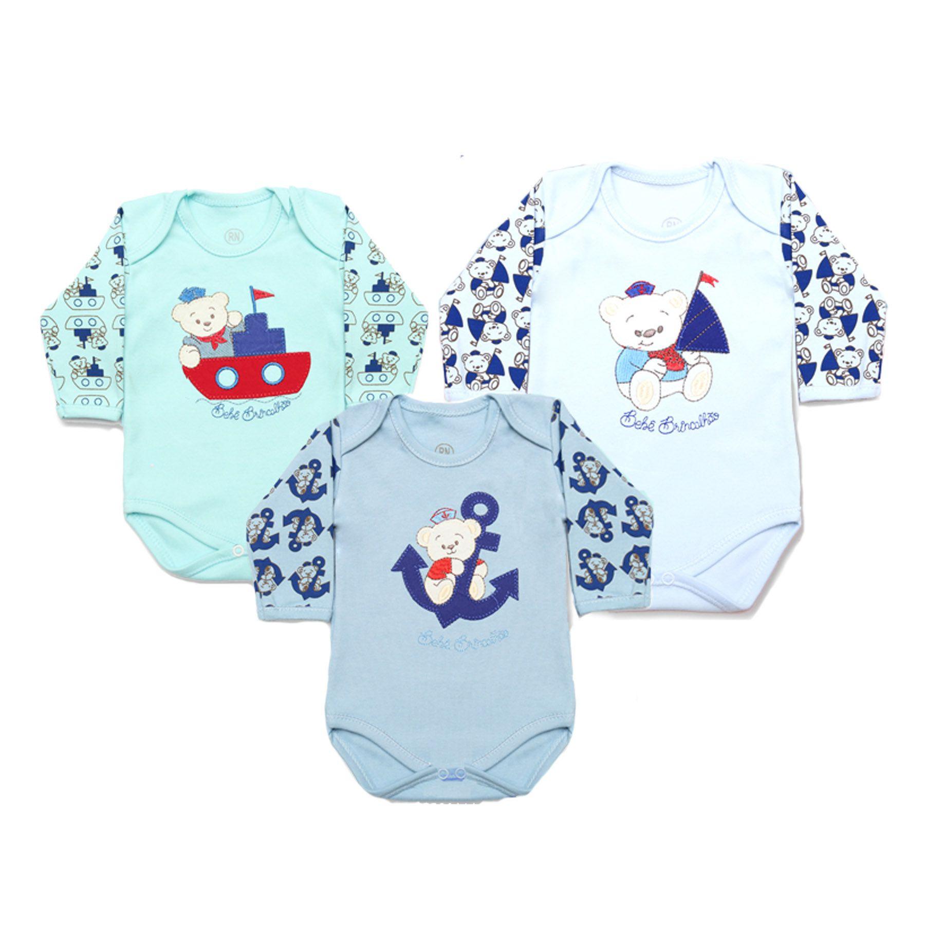Kit Body Bebê 3 Peças Menino Azul Bordado Marinheiro